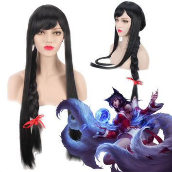 League of Legends LOLAhri Extra Long With Braided Black Straight Cosplay Wig