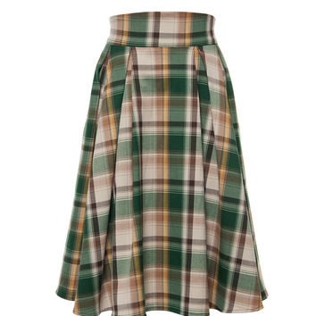 Shop Tan Plaid Skirt on Wanelo