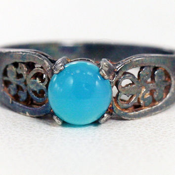 Oxidized Blue Chalcedony Filigree Ring Sterling Silver, Natural Blue Chalcedony Ring, Oxidized Sterling Silver Filigree Ring