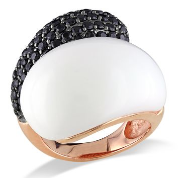 Pink Rhodium Plated Ring Synthetic White Agate and Black Cubic Zirconia Ring in Sterling Silver