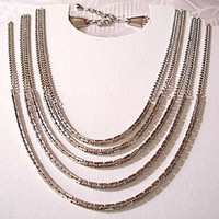 Monet Five Strand Necklace Choker Silver Tone Vintage Box Chain Link Round Adjustable Extension Links Hook Closure