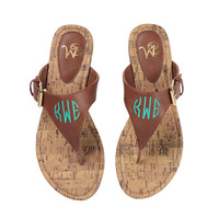Brown Monogrammed Sandals -Size 8