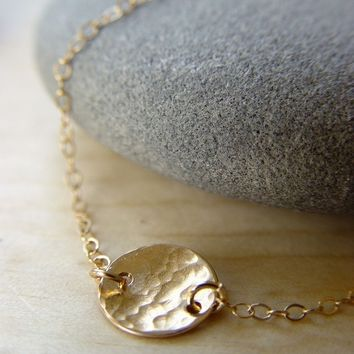Hammered Disc Gold Necklace - Delicate Circle