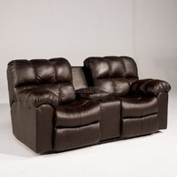 Casual Leather Loveseat with 2 Recliners