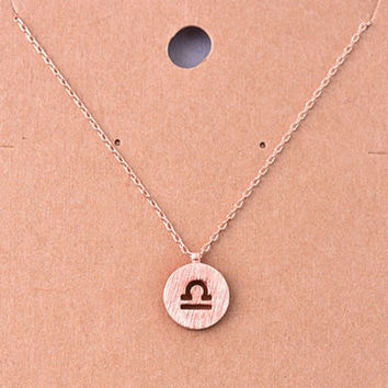 Libra Rose Gold Zodiac Charm Necklace