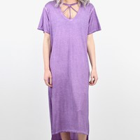 Mineral Washed Cut Out Front Slit Maxi Dress {Purple}