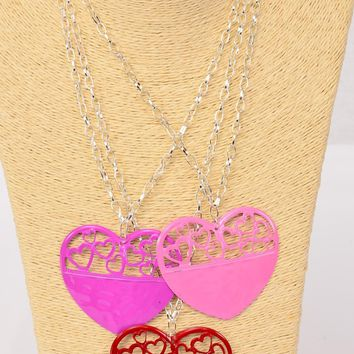 Silver Chain Necklace with Heart Pendant Set