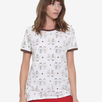 Disney Chip N Dale Tonal Allover Print Womens Ringer Tee - BoxLunch Exclusive