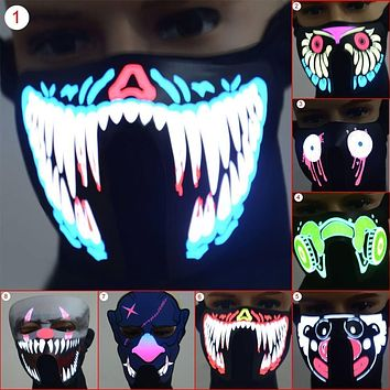 Glow in the Dark Scary Mask LED Half Face Luminous Flashing Face Rave