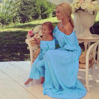 Fancy Light Blue Mommy and Me Mother/Daughter Off the Shoulder Long Chiffon Maxi Dresses Matching Outfits