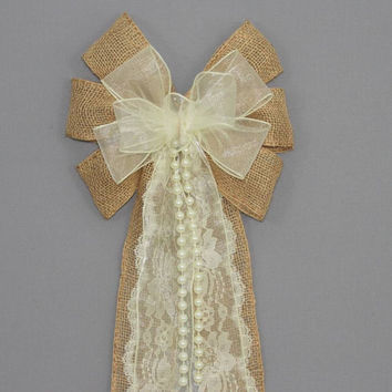 Ivory Sheer Burlap Lace Pearl Wedding Pew Bow