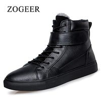 ZOGEER Plus Size 38-48 Men's Boots, Black Business Formal Men Dress Boots, 2017 New Leather Winter Man Formal Shoes