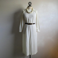 70s Boucle Knit Dress Leslie Fay Cream Textured Knitted 1970s Day Dress Medium