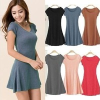 Women summer dress New Korean Girl Mini Dress Short Sleeve Candy Color One-piece Slim Basic Dresses = 1958051204
