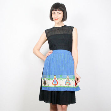 Vintage Apron Half Apron Waist Apron Blue Apron Ethnic Print Novelty Print Kitchen Apron Bridal Shower Gift For Her Mad Men Retro Kitsch