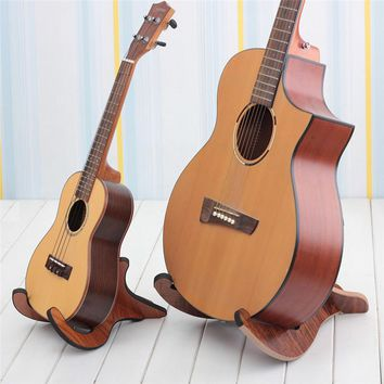 Longteam Electric Acoustic Folk Guitar Bass Ukulele Stand Wooden Guitarra Accessories Stand Musical Strings Instrument Part