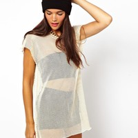 ASOS | ASOS T-Shirt with Contrast Zip in Oversized Mesh at ASOS