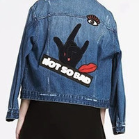 Blue Lapel Letter And Eye Patches Denim Coat