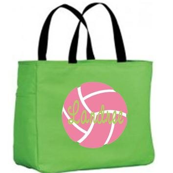 Pink Volleyball on Personalized Lime Tote Bag