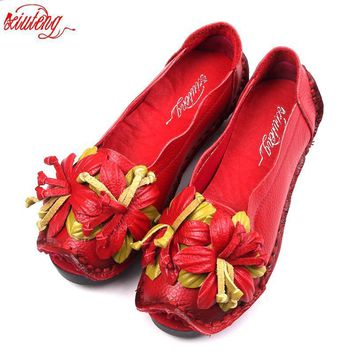 Xiuteng New National Wind Flowers Handmade Genuine Leather Shoes Women Retro Soft Bott
