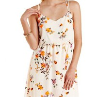 Ivory Combo Strappy Floral Print Dress by Charlotte Russe