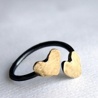 Handmade to Order Two Hearts on a Finger Sterling by luckyduct