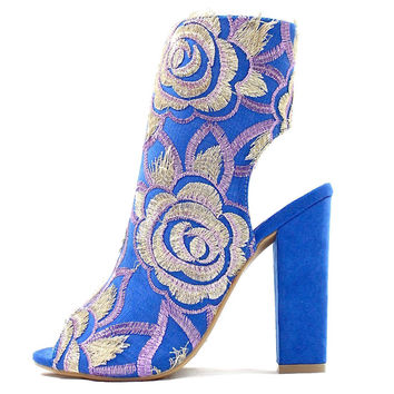 Ramos Multi-Colored | Wowtrendz | Embroidered Chunky Heel Booties