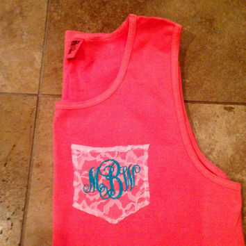 Elegant lace pocket comfort colors tank for the bride to be with monogrammed initials