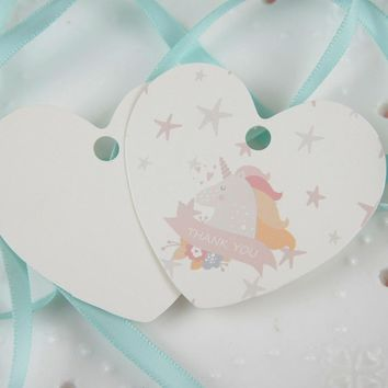 thank you 50 pcs dream unicorn design heart paper tag labels wedding gift girl birthday packaging decor tags Scrapbooking DIY