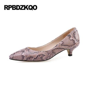 10 42 33 Pointed Toe Kitten Lilac Pumps Low Plus Size Shoes Snakeskin Snake High Heels 2017 Ladies 4 34 Small 12 44 Walking