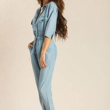 Marla Denim Button Down Jumpsuit