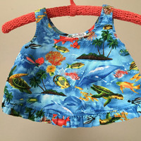 Vintage Girls Crop Top, Tropical Fish Hawaiian Print Summer Baby Vintage Crop Top, Blue Ocean Sea Turtles Sleeveless Cropped Tank Top 24m 2T
