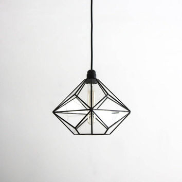 Triakis Octahedron Big Geometric Chandelier / Warm Vintage Bulb Lamp / Glass Geometric Lighting / Retro Style Lamp / Modern Pendant Light