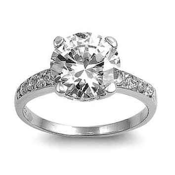 Sterling Silver CZ 2 carat Engagement Ring size 5-10