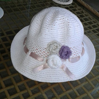 Sun hat crochet, baby girl and mum summer hat with flowers