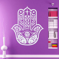 Fatima Hand Wall Decals Indian Pattern Hamsa Hand Moon Amulet Lotus Mandala Interior Design Home Art Vinyl Decal Sticker Bedroom Decor MR382