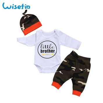 Wisefin Newborn Baby Clothes Outfits Boy Camo Pants+Baby Bodysuit Long Sleeve Toddler Clothing Set Little Brother Infant Clothes