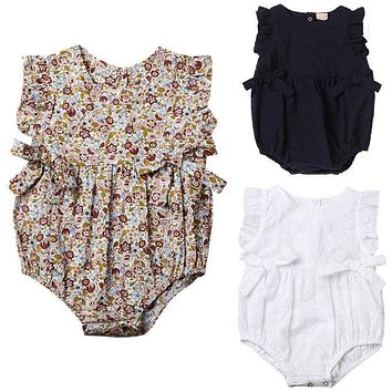 HOT Adorable Baby Rompers Toddler Newborn Baby Girls Hollow Out Romper Cotton Kids Summer Cotton Floral Jumpsuit Outfit Clothes