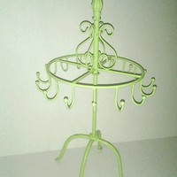 Lime Green Paris Wrought Iron Jewelry Display, Craft Show Home decor.