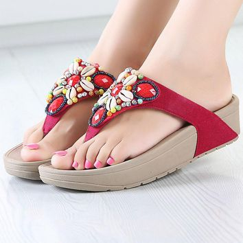 Shoes women flip flops 2017 new wedges platform string bead flower beach shoes fashion adult slippers chaussure femme