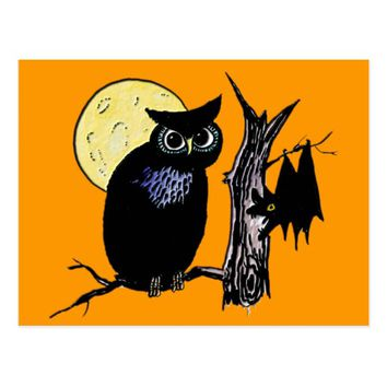 Bat Moon and Owl on Halloween Postcard