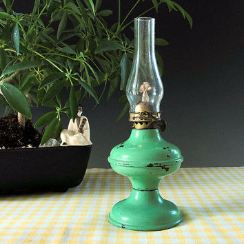 Antique Miniature Oil Lamp Mint Green Metal Acorn Lantern Shabby Chic Rustic Cottage Style Vintage 1940s