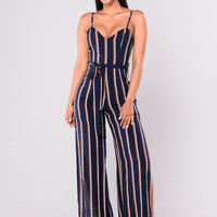 Olivia Striped Jumpsuit - Navy Stripe