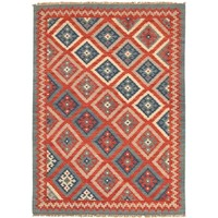 Anatolia Blue and Red Kilim Wool Rug