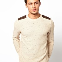 River Island Tim Crew Neck Jumper with Epelettes at asos.com