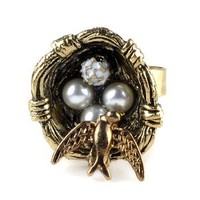 Unique Vintage Bird's Nest Pearl Ring Personality Jewelry | AihaZone Store