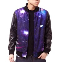 Generic Men's Galaxy Digital Print Leather Sleeves Baseball Jacket (S)
