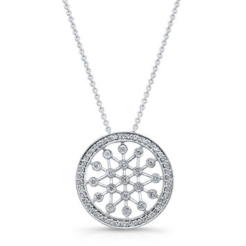 "Women's Platinum circle necklace pendant 0.40 ctw G color VS2 clarity diamonds with 16"" Platinum necklace"