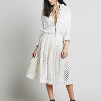 Free People Womens FP ONE  Lazer Cut Lemon Skirt