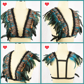 Multicolor lace feather bralette festival wings rave sexy body cage bra gypsy boho bridal feather harness bra body fetish wear